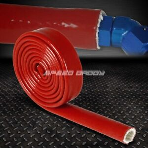 "3//8/"" 10MM FIRE SLEEVE BRAIDED THERMAL INSULATION RED HOSE WOVEN FIBERGLASS //FEET"