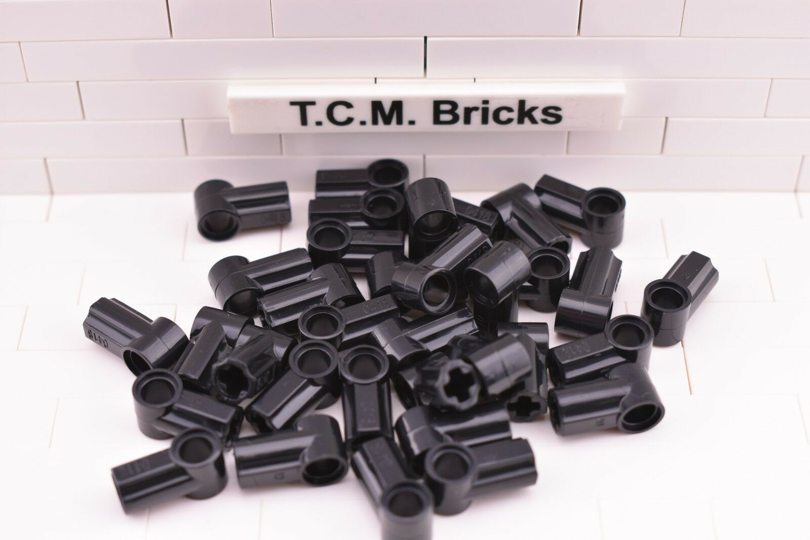 QTY:100 Pieces TCM Compatible Bricks Black Axle /& Pin Connection Angled #1