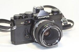 Olympus OM-2 Film Camera Black & OM-SYSTEM ZUIKO AUTO-MACRO  50mm F/3.5 MF Lens