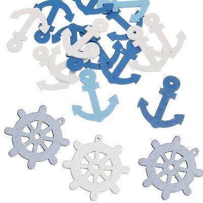 Fashion 50pcs Wooden Sea Anchor Wheel Nautical Craft Scrapbook Home Decor