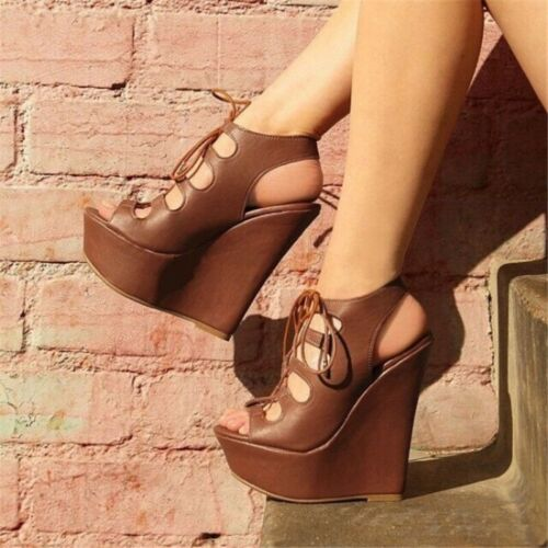 Womens Platforms Wedge High Heels Gladiator Sandals Hollow Out Lace Up Shoe Size