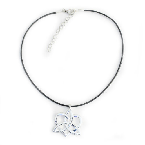 Celtic Knot Heart Charm Choker Pendant Necklace with Black Cord