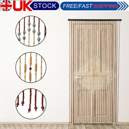 Natural Wooden Beaded Door Curtain Bamboo Summer Blind Fly Mosquito Bug Screen
