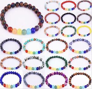 7 Chakra Healing Balance Beaded Bracelet Lava Yoga Reiki Prayer Stones Unisex