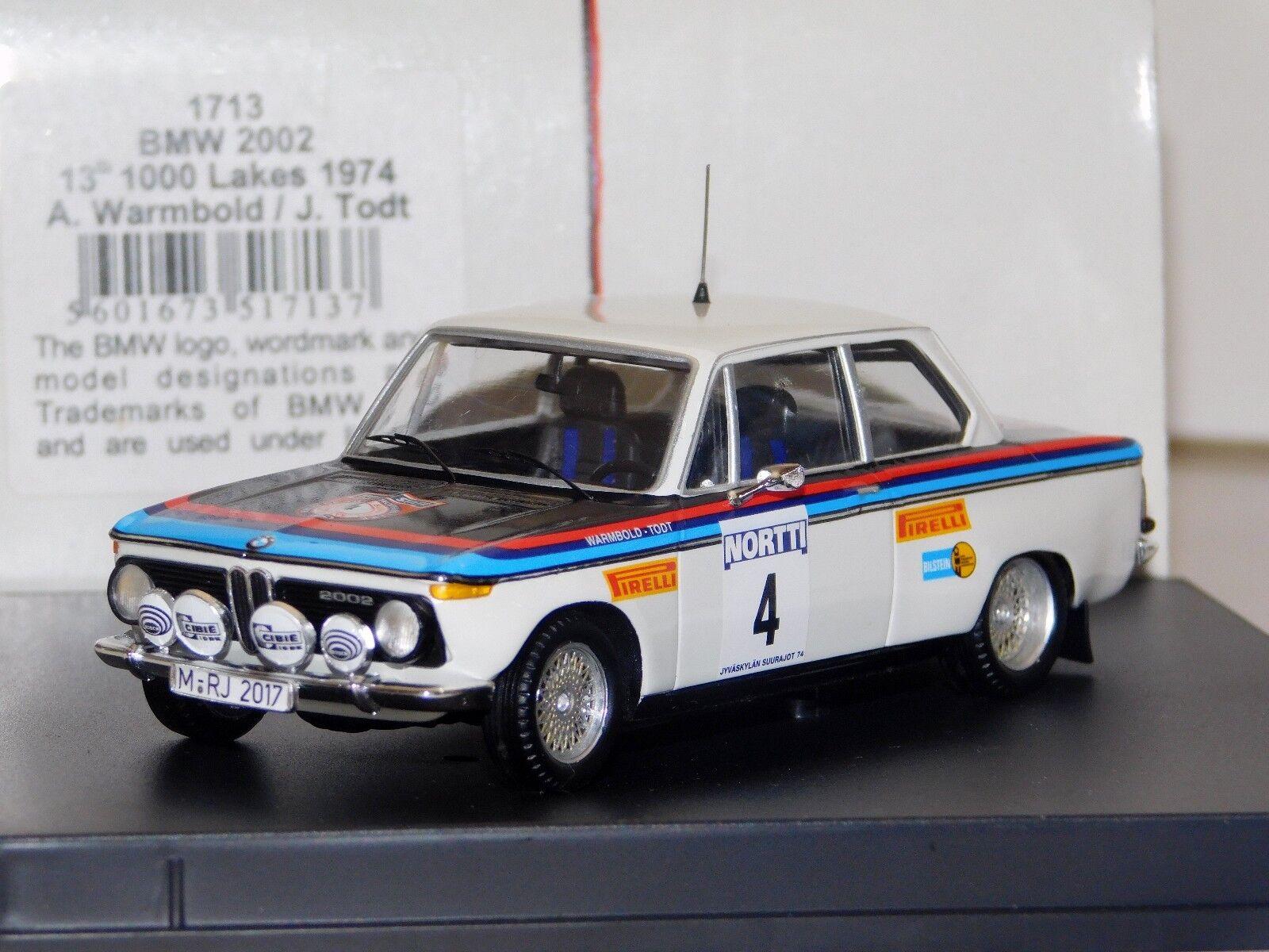 deportes calientes BMW 2002  4 Warmbold 1000 Lagos Rally 1974 Trofeu Trofeu Trofeu 1713 1 43  entrega rápida
