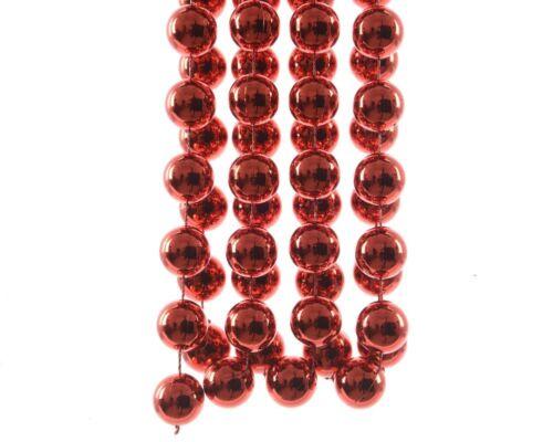 Girlande XXL Weihnachtsrot L2,7m D2cm mit großen Kugeln Baumkette Perlenkette