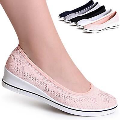 Da Donna Zeppa Plateau Ballerina Slipper Sneaker Pumps-mostra Il Titolo Originale