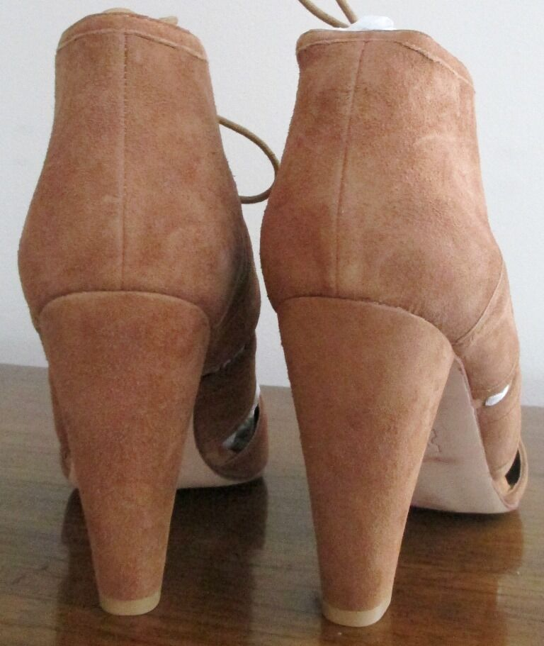 345 Cynthia Vincent Paloma Tobacco Brown Suede Lace Up Strappy Pumps Heels 9.5 b0f8ca