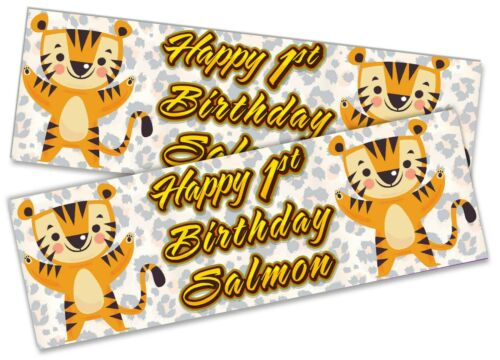 x2 Personalised Birthday Banner Tiger Children Kids Party Decoration Poster 2