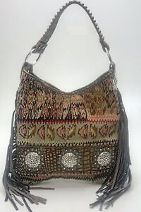 Raviani-Persian-Carpet-Bag-W-Turquoise-Leather-amp-Crystal-Conchos-MADE-IN-USA