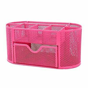 Cool 9 In 1 Metal Mesh Desk Organizers Office Supply Storage Holder Desktop Hot Pink Home Interior And Landscaping Eliaenasavecom