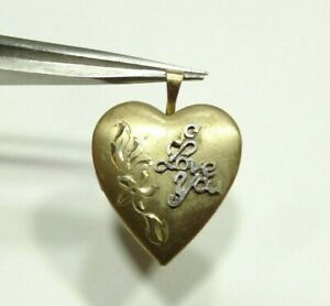VINTAGE-FLORAL-BUTTERFLY-HEART-LOCKET-2-PHOTOS-14k-PPC-GOLD-FILLED-PENDANT