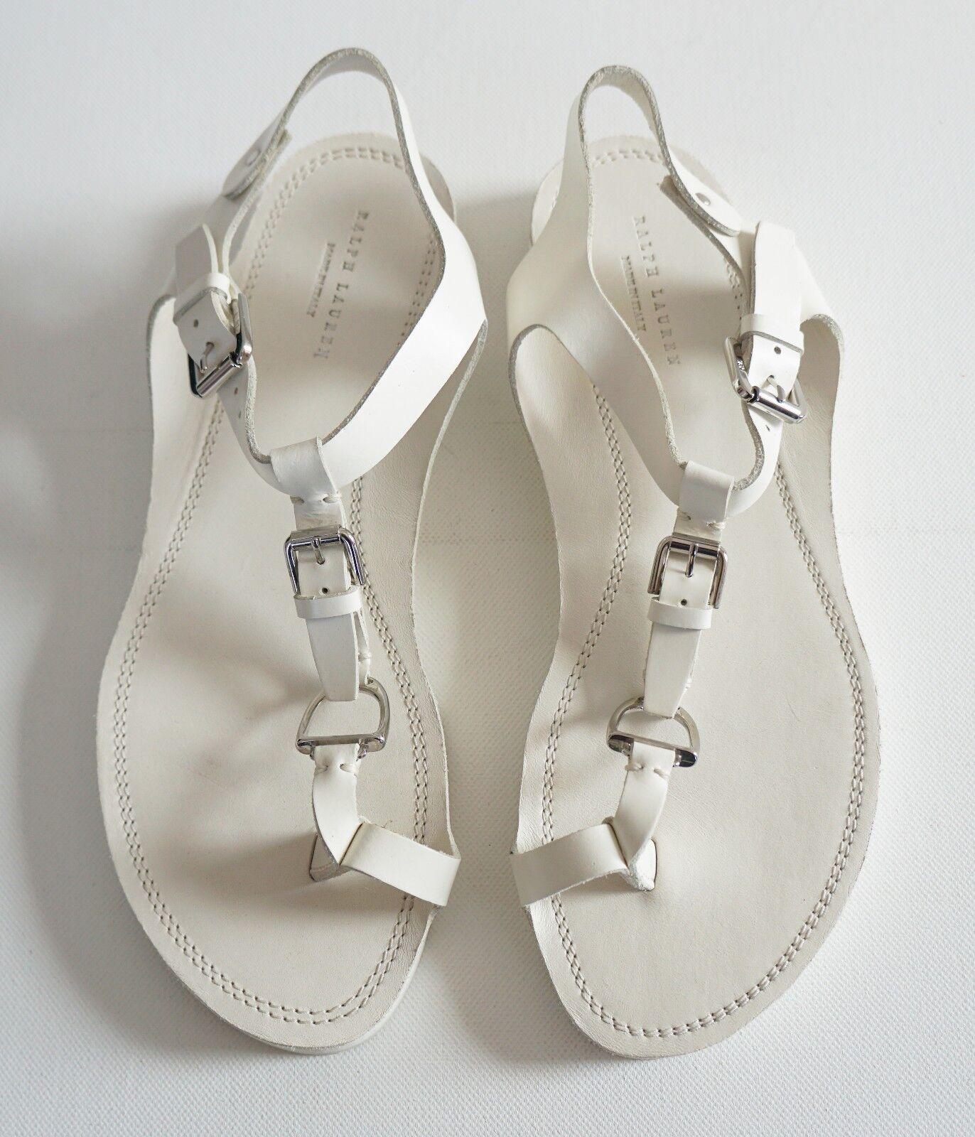 RARPH LAUREN vit vit vit läder STIRRUP Detailing Buckle Flat Sandals Flat Sandals Flats 7B  Fri frakt på alla beställningar