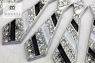 M50 Cute Crystal Tie Charm Pendant Beads Wholesale (10 pcs)
