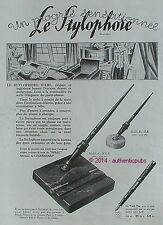 PUBLICITE EVERSHARP PORTE PLUME LE STYLOPHORE WAHL PEN STYLO DE 1927 FRENCH AD