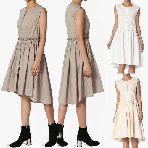 TheMogan Sleeveless Button Front Cottton Poplin Pleated Fit /& Flare Midi Dress