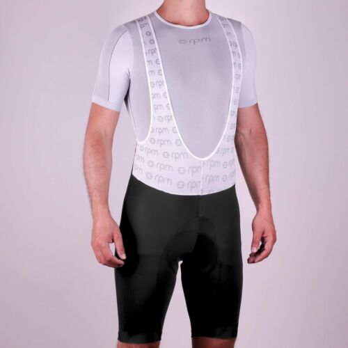 RPM Ares Men/'s Pro Race Cut Padded Cycling Bib Shorts Made in Italy Black