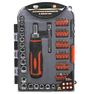 26pc RATCHETING SCREW DRIVER SET w// SOCKETS /& BITS PHILLIPS RUBBER GRIP /&HOLSTER