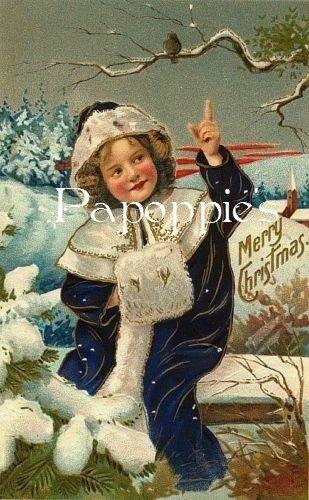 Vintage Christmas Fabric Block Victorian Girl Merry Christmas Bird on Branch