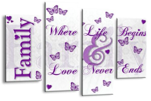 """Family Quote Art Picture White Purple Love Home Canvas Wall Print 44/"""""""