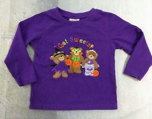 Decorated-Originals-Girls-Halloween-Shirt-2T-Purple-Long-Sleeve-Cotton-Bears