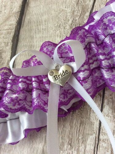 Plus Size Extra Large Garter Lilic Lace  Wedding Heart Charm  40inch streched .