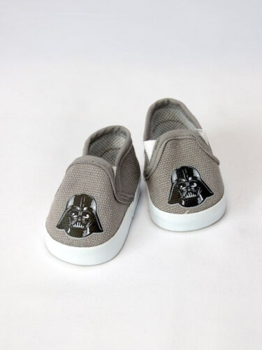 """Darth Vader Inspired Grey Canvas Shoes Fits 18/"""" American Boy or Girl Doll Shoes"""