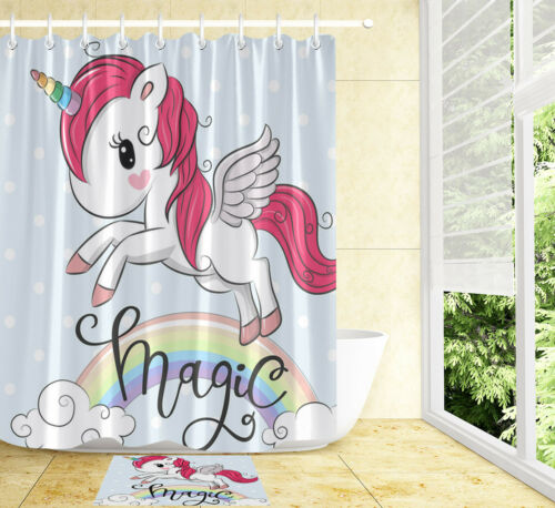 "72X72/"" Cartoon Magic Unicorn on Light Blue Shower Curtain Set Bathroom Decor Mat"