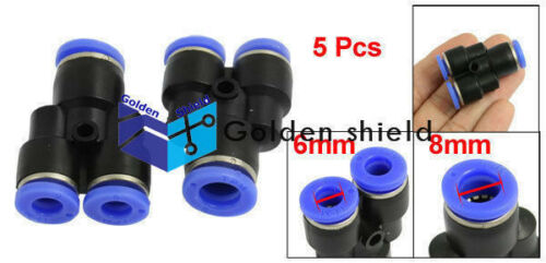 5 Pcs 6mm to 8mm Air Pneumatic Y Shaped Push in Quick Fitting