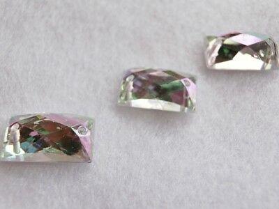Strasssteine Aufnähsteine Rechteck ca 14 x 9 mm Grau Black Diamond Karostonebox