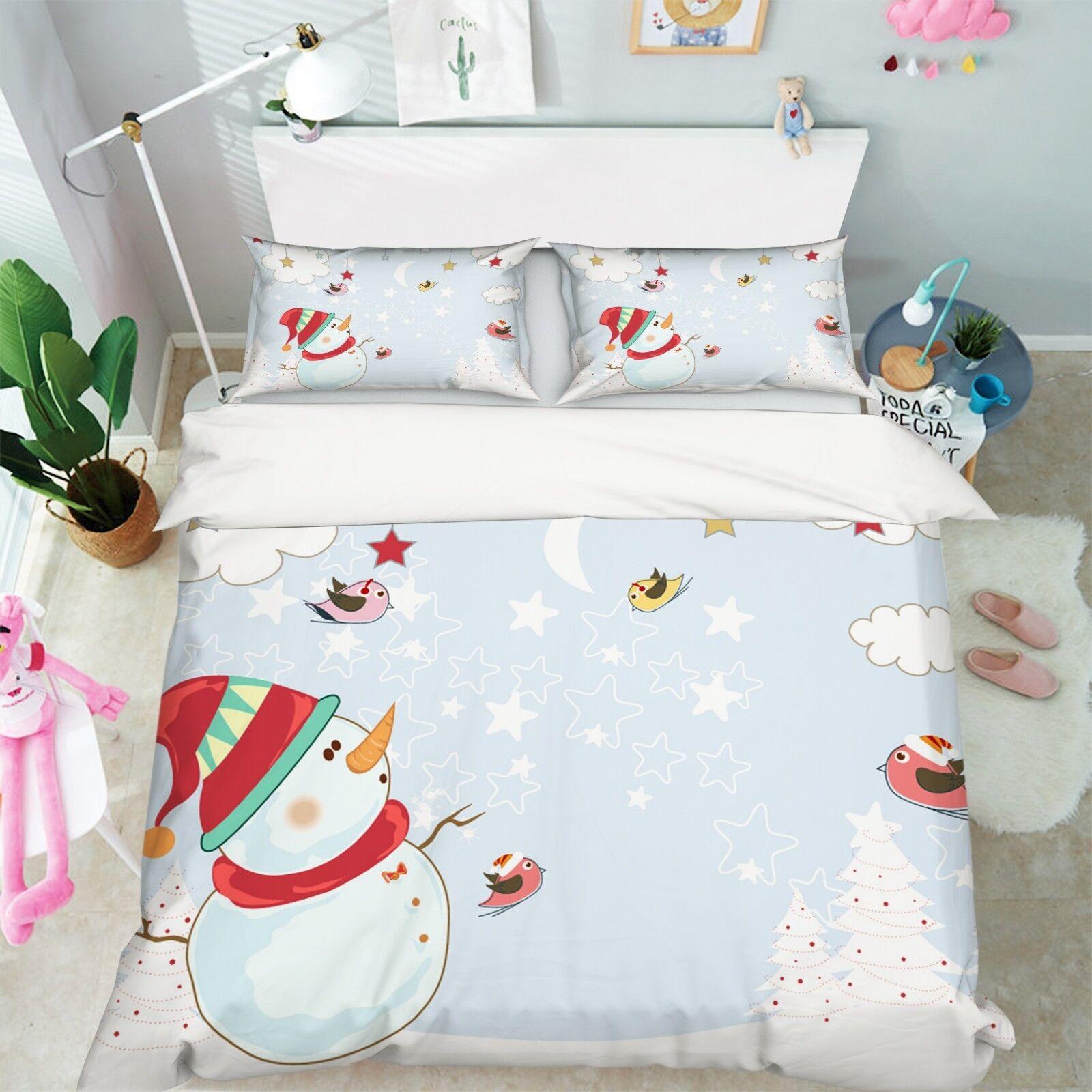 3D Christmas Xmas Bird Sky 7 Bed Pillowcases Quilt Duvet Cover Set Single Queen