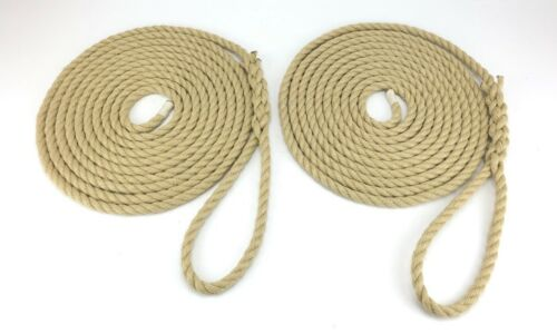 Boat Lines Yacht Sailing 2 x 10 Metres Of 14mm Synthetic Polyhemp Mooring Ropes