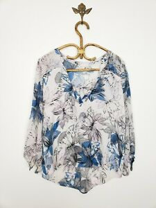Rebecca Taylor White Floral Silk Long Sleeve Peasant Blouse Top Womens Size 8