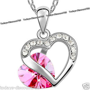 BLACK-FRIDAY-DEALS-Heart-Necklace-Pink-Crystal-Love-Wife-Women-Xmas-Gift-For-Her