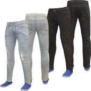 Mens-Denim-Pants-Designer-Distressed-Ripped-Jeans-Frayed-Skinny-Stretch-Jeans