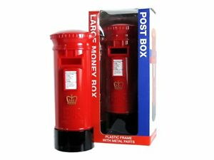 BRITISH-RED-POST-BOX-LONDON-MONEYBOX-COIN-BOX-DIECAST-METAL-PIGGY-BANKS-UK