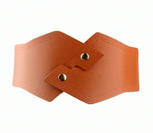 Irregular Shape Vintage Retro Wide Elasticated Faux Leather Belt Waist Cincher