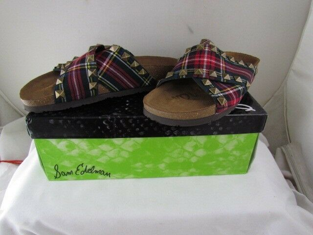 NIB SAM EDELMAN Arina Red Plaid Slide Sandals with Studs MSRP  120