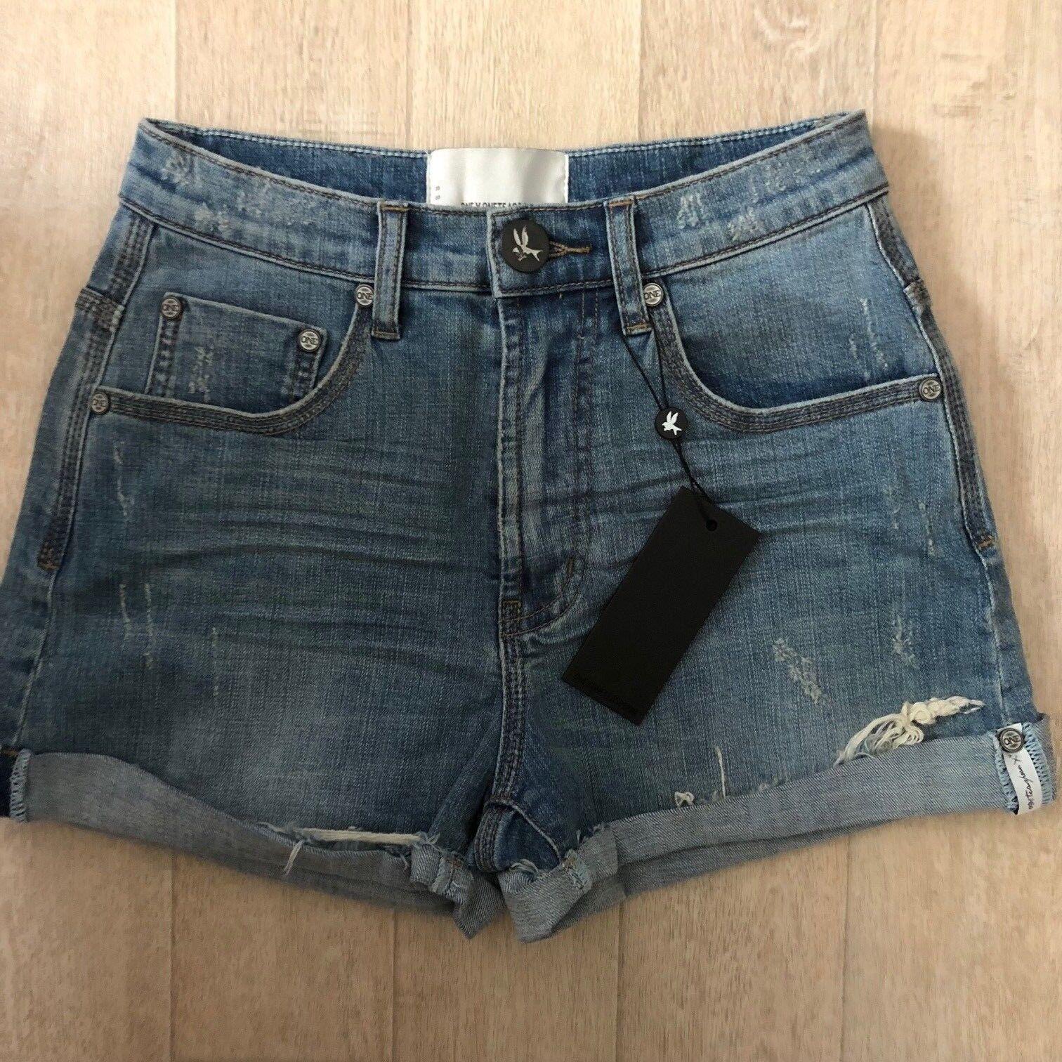 NWT One Teaspoon Harlets Shorts Jeans Size 26 Storm Boy Distressed High Waist