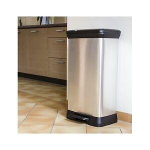 large 50 litre garbage trash waste pedal bin kitchen. Black Bedroom Furniture Sets. Home Design Ideas
