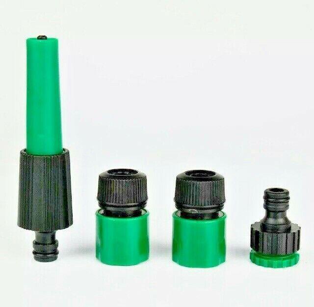 Water Hosepipe Spray Gun Set Of 4 Hose Fittings Nozzle Connector Garden Car UK