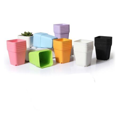 10X mini Carré Plastique Plant Pot De Fleur Jardin Home Office Decor JARDINIERE