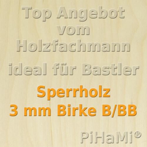 8,92€//m² Sperrholz 3 mm Birke Sperrholzplatte Modellbau Bastelholz  76 x 50 cm