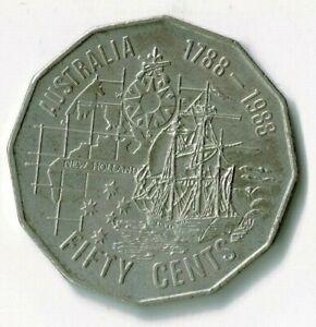 1988 AUSTRALIAN 50 CENT COIN FIRST FLEET TALL SHIPS NEW HOLLAND BICENTENARY
