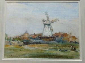 Landscape-with-a-wind-mill-watercolour-by-Frederic-Stuart-Richardson-1855-1934