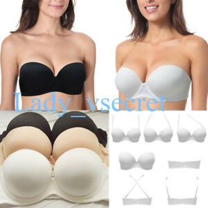 78f5e69713f67 Image is loading Women-Super-Boost-Multiway-Invisible-Strapless-Bra-Thick-