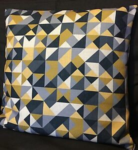 Image Is Loading Mustard Grey Black Triangles Cushion Cover 20 039