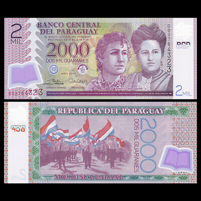 UNC 2,000 2017 Paraguay 2000 2018 Guaranies POLYMER P-228-New D-Prefix