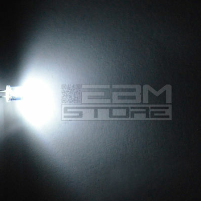 100 pz led FLAT TOP bianchi alta luminosità 20.000 mcd 5 mm ART AH15