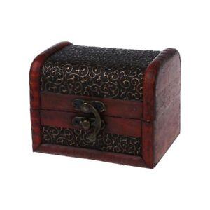 Bronze-ton-Fleur-relief-Style-ancien-Boite-boite-a-bijoux-en-bois-H8M1